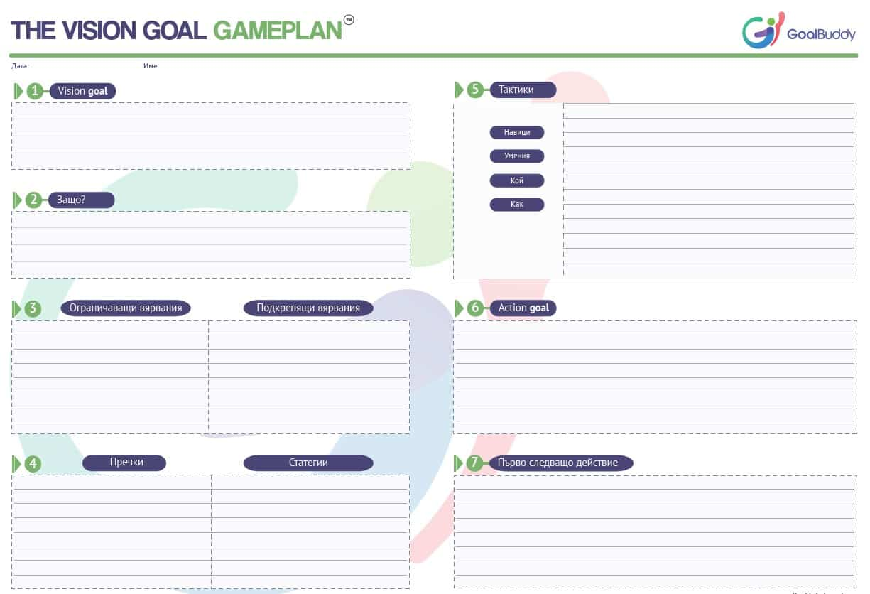 Goal Setting Templates Goal Buddy - Game plan template